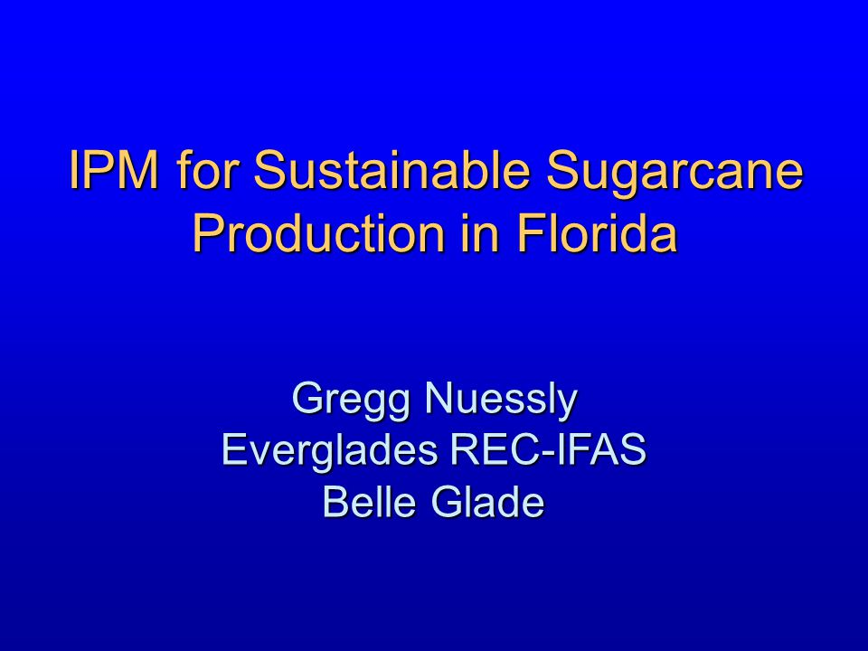 IPM for Sustainable Sugarcane
