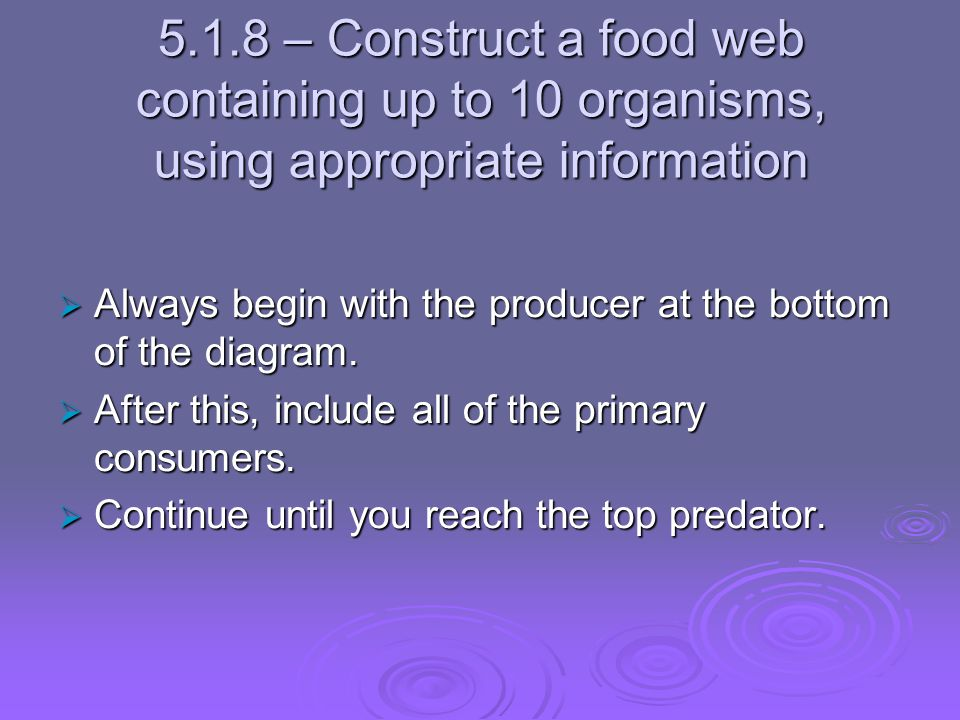 5.1.8 – Construct a food web containing up to 10 organisms, using appropriate information