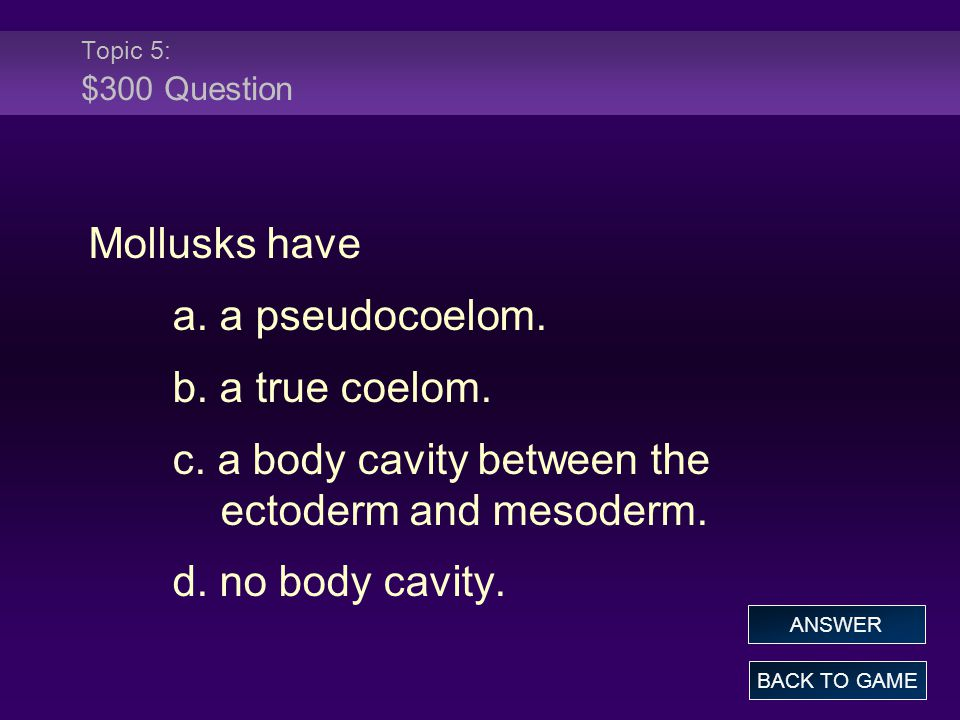c. a body cavity between the ectoderm and mesoderm. d. no body cavity.
