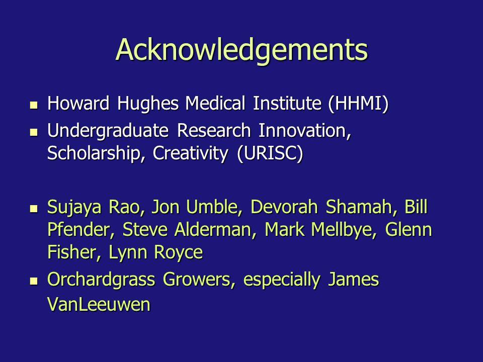 Acknowledgements Howard Hughes Medical Institute (HHMI)
