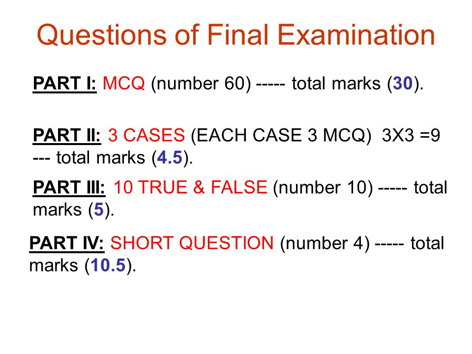 Questions of Final Examination