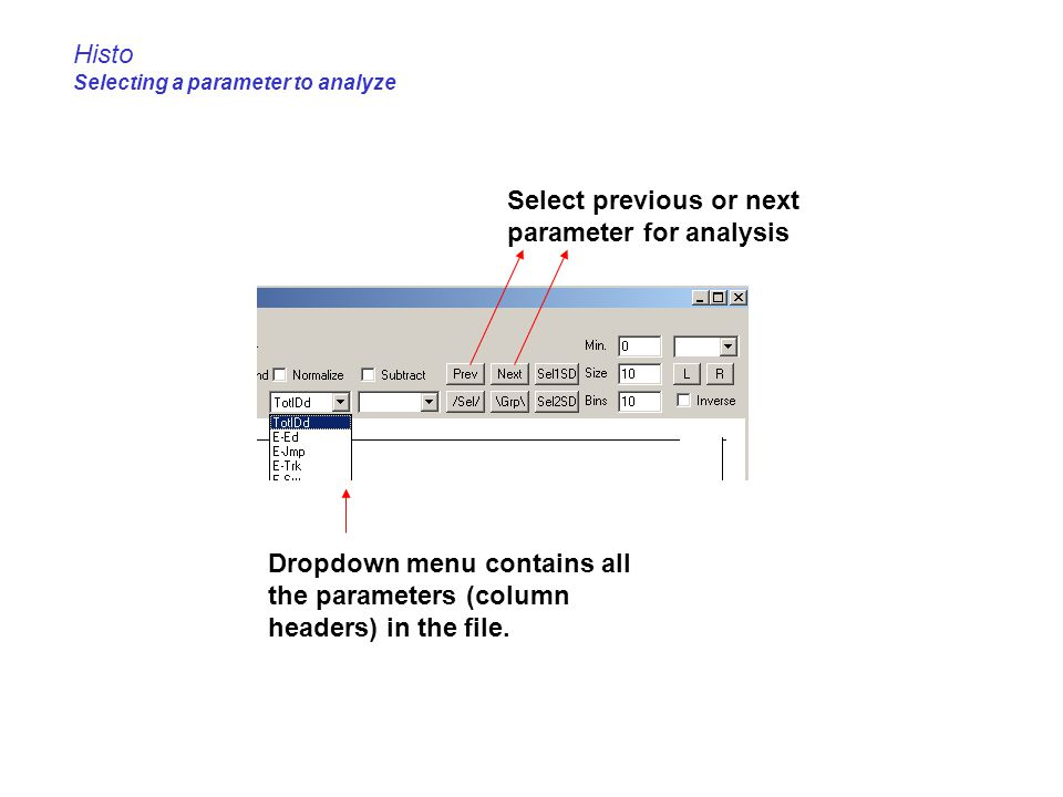 Histo Selecting a parameter to analyze
