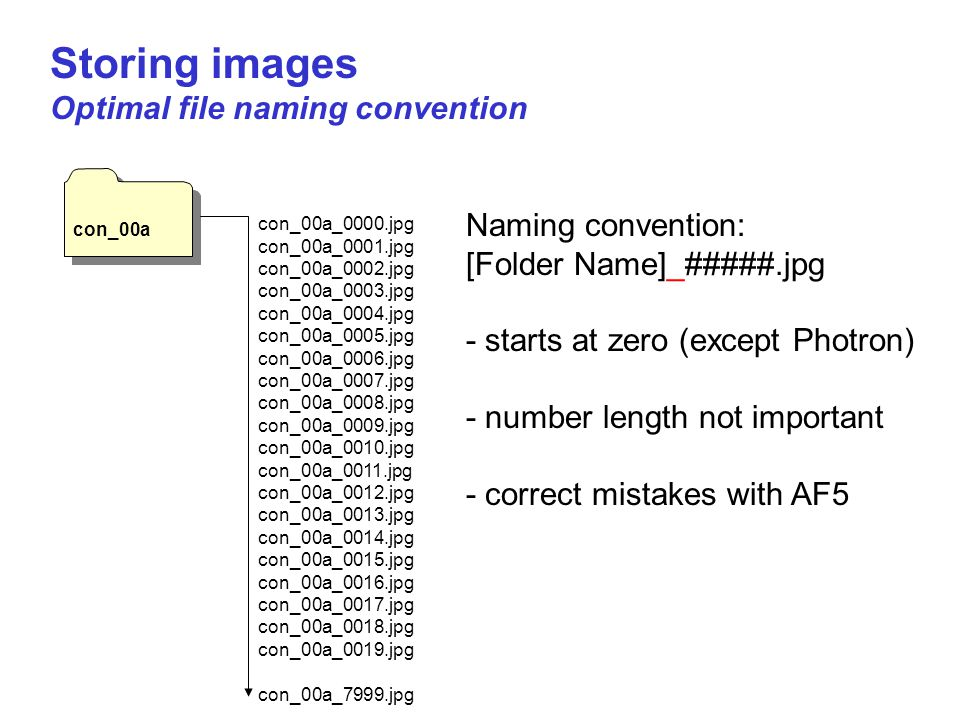 Storing images Optimal file naming convention Naming convention: