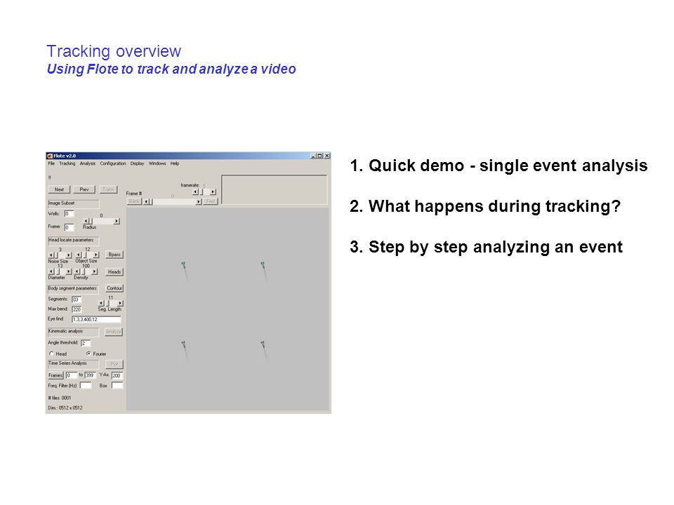 Tracking overview Using Flote to track and analyze a video