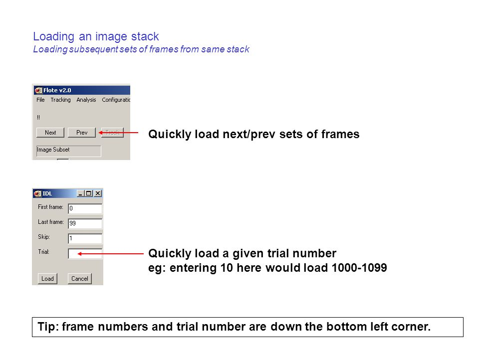 Loading an image stack Loading subsequent sets of frames from same stack