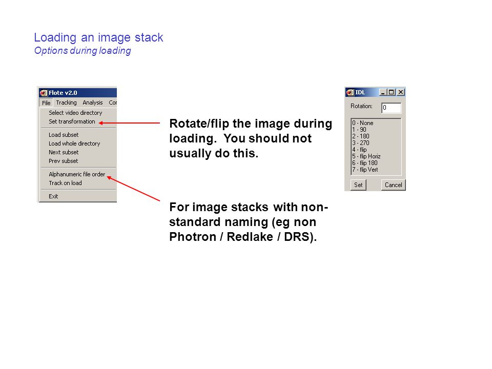Loading an image stack Options during loading