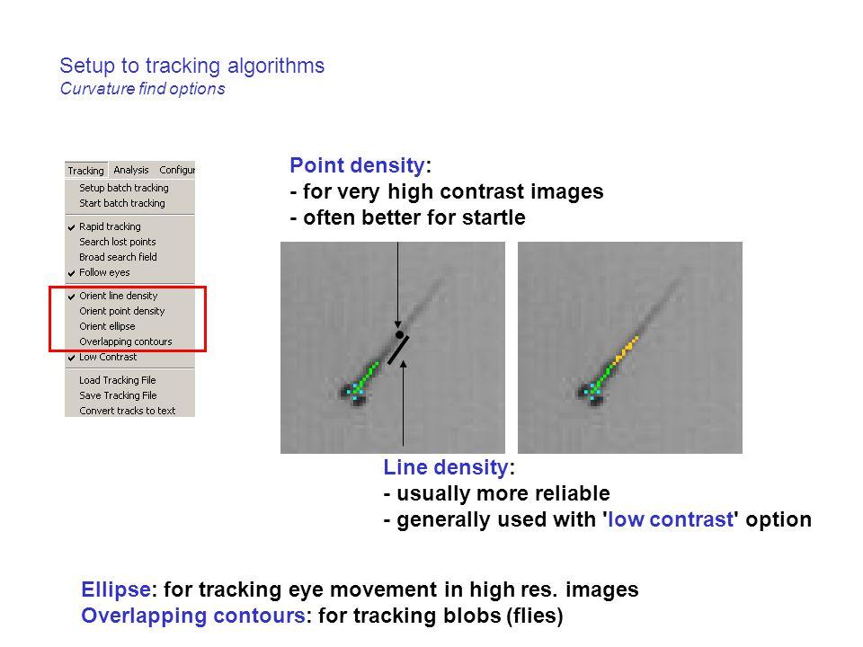 Setup to tracking algorithms Curvature find options