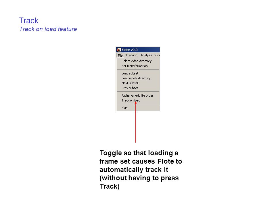 Track Track on load feature