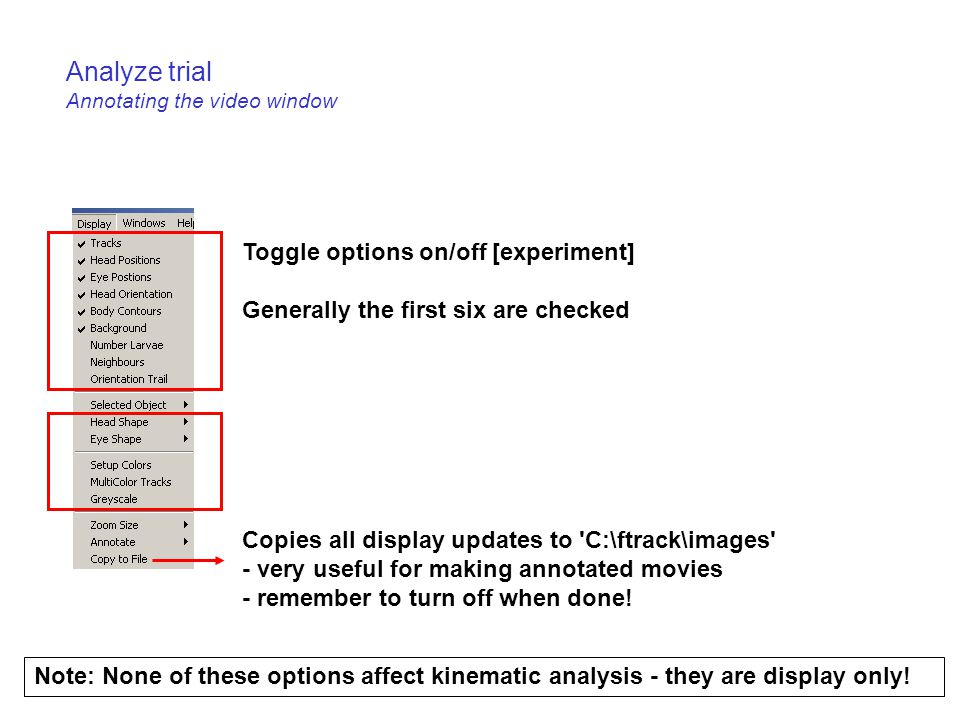 Analyze trial Annotating the video window