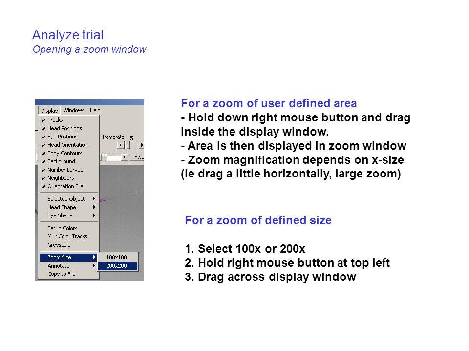 Analyze trial Opening a zoom window