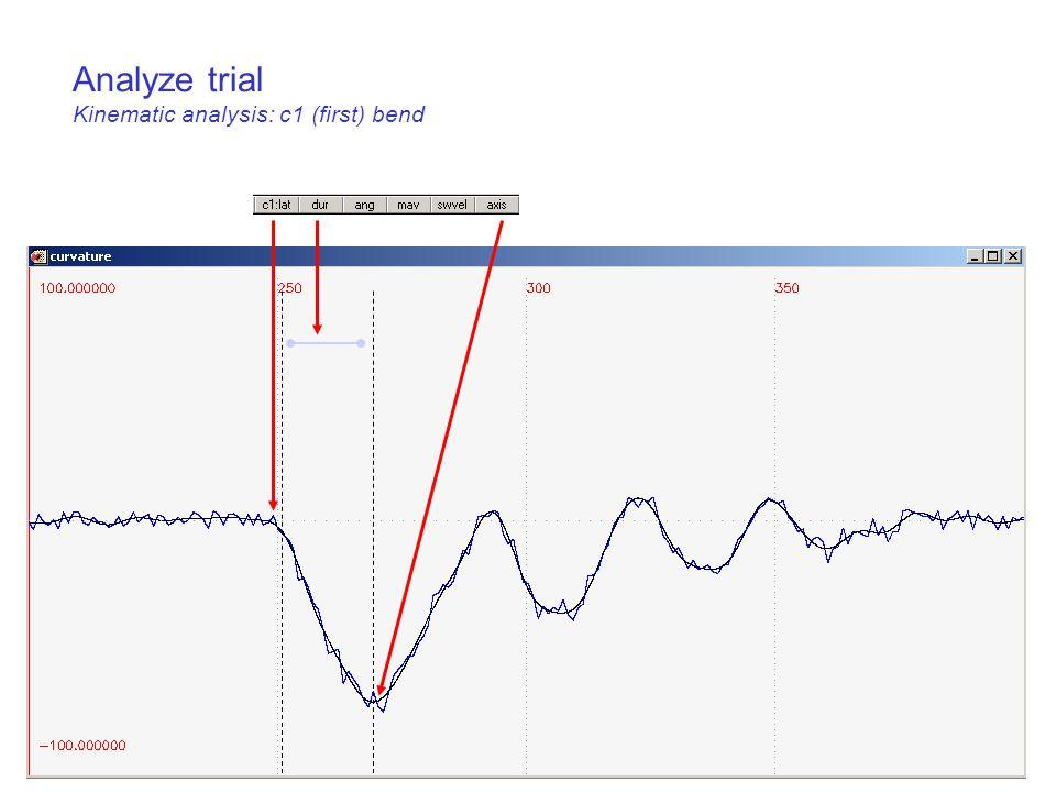 Analyze trial Kinematic analysis: c1 (first) bend