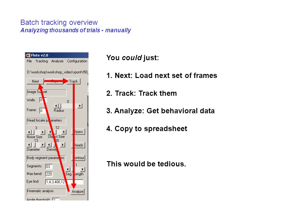 Batch tracking overview Analyzing thousands of trials - manually