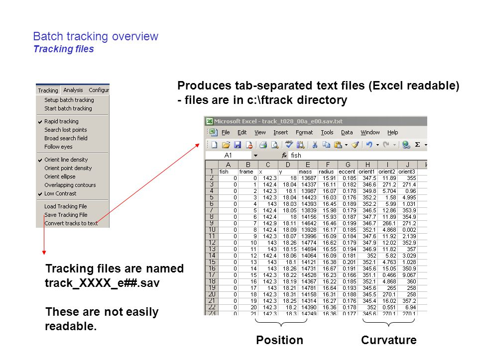 Batch tracking overview Tracking files
