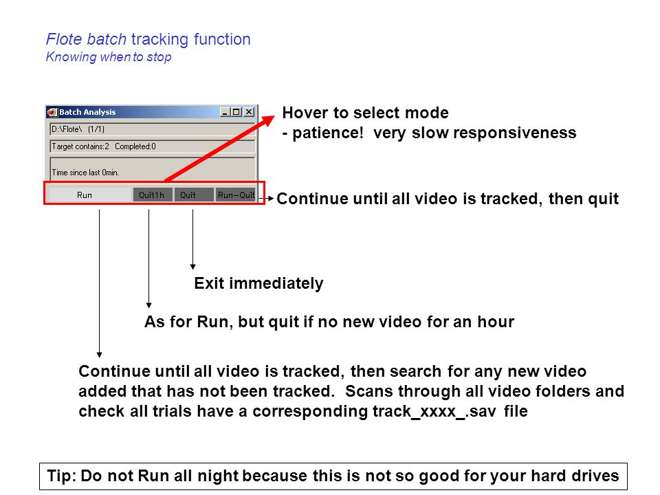 Flote batch tracking function Knowing when to stop