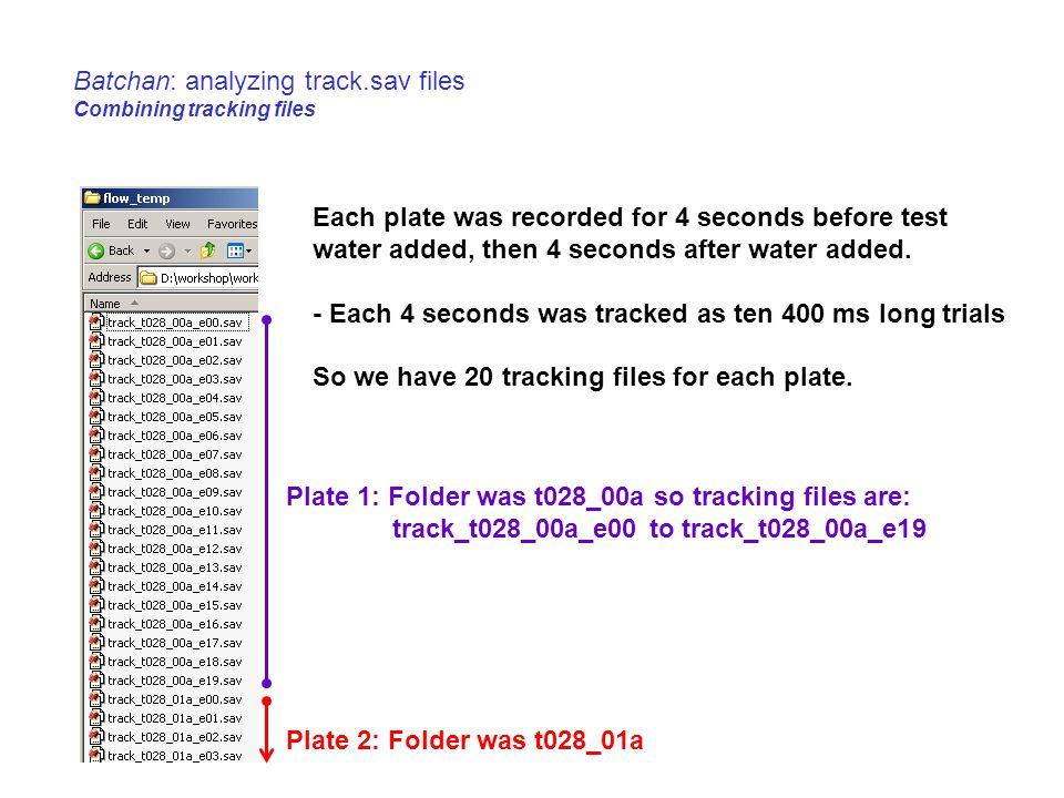 Batchan: analyzing track.sav files Combining tracking files