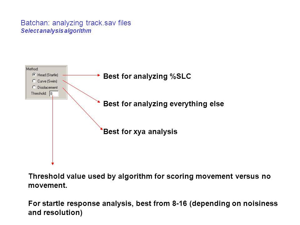 Batchan: analyzing track.sav files Select analysis algorithm