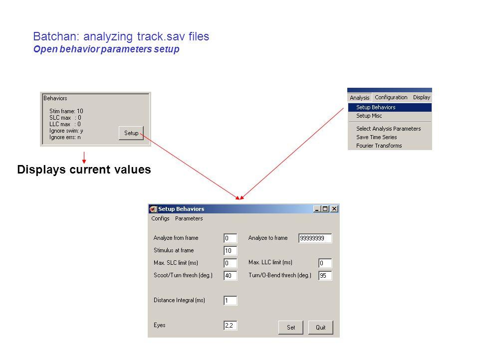 Batchan: analyzing track.sav files Open behavior parameters setup