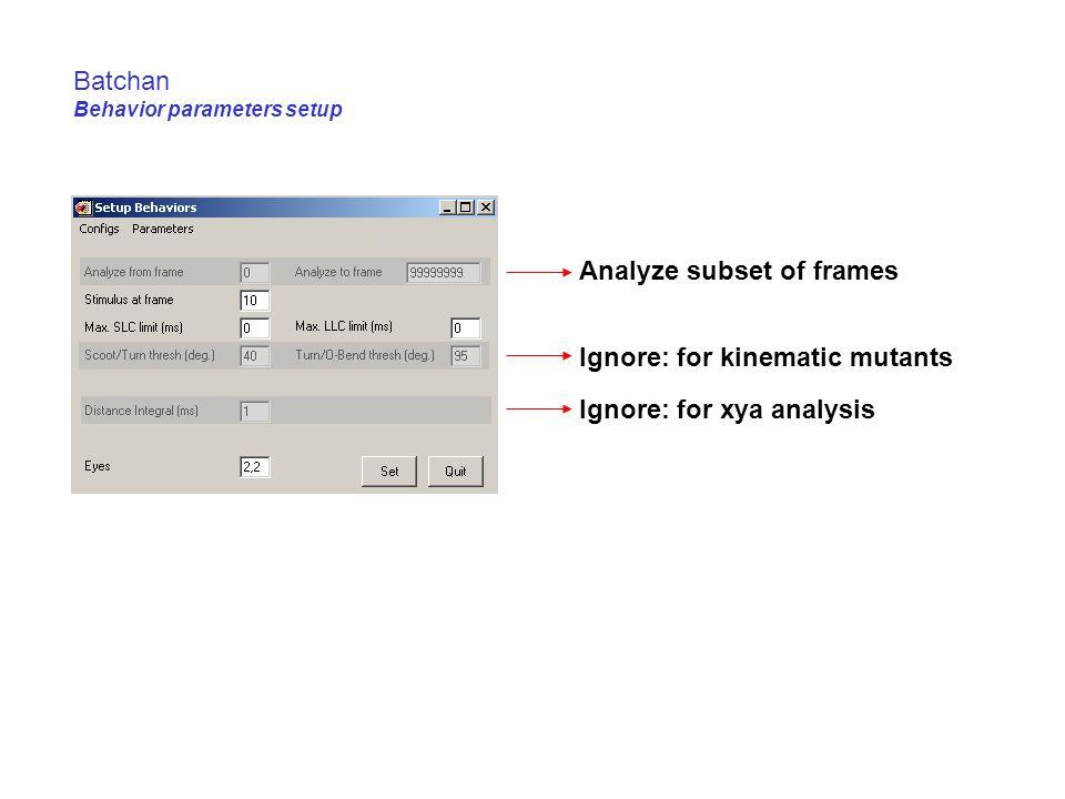 Batchan Behavior parameters setup