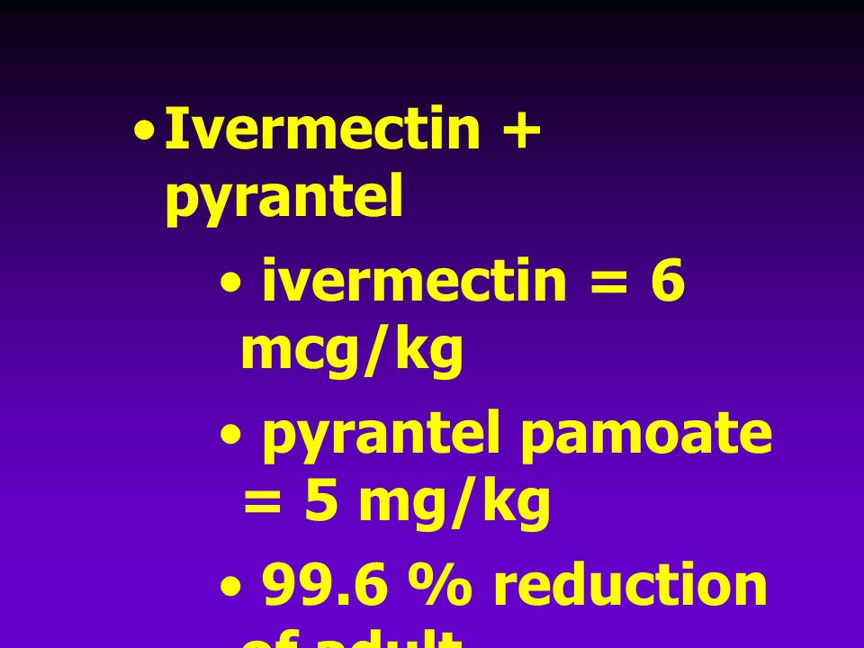 Ivermectin + pyrantel ivermectin = 6 mcg/kg. pyrantel pamoate = 5 mg/kg. 99.6 % reduction of adult hookworms.