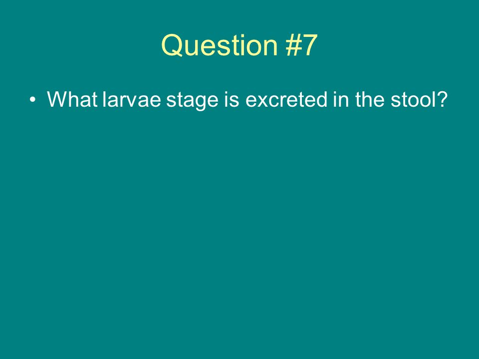 Question #7 What larvae stage is excreted in the stool