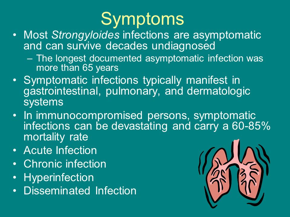 Symptoms Most Strongyloides infections are asymptomatic and can survive decades undiagnosed.