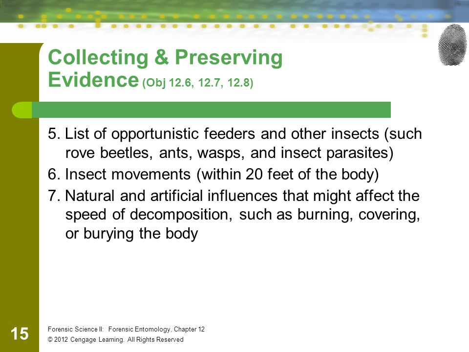 Collecting & Preserving Evidence (Obj 12.6, 12.7, 12.8)