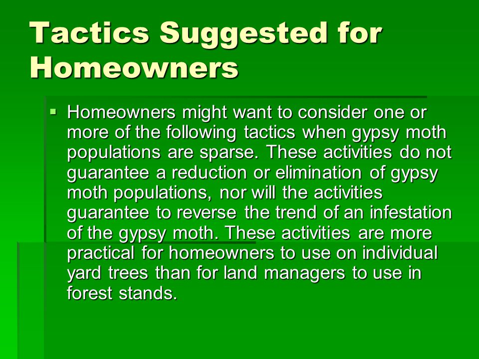 Tactics Suggested for Homeowners