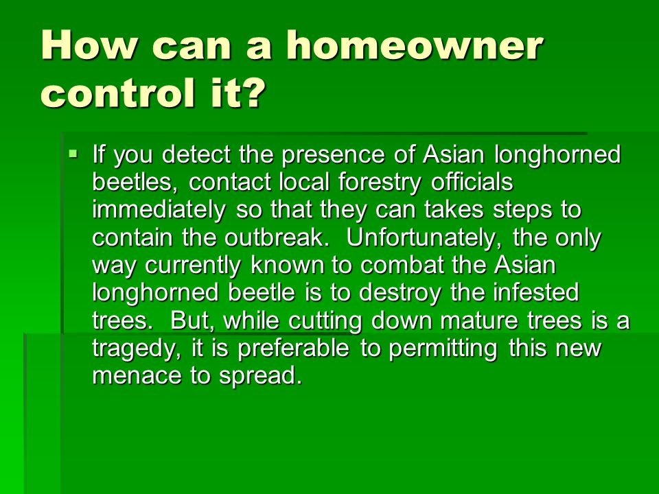 How can a homeowner control it