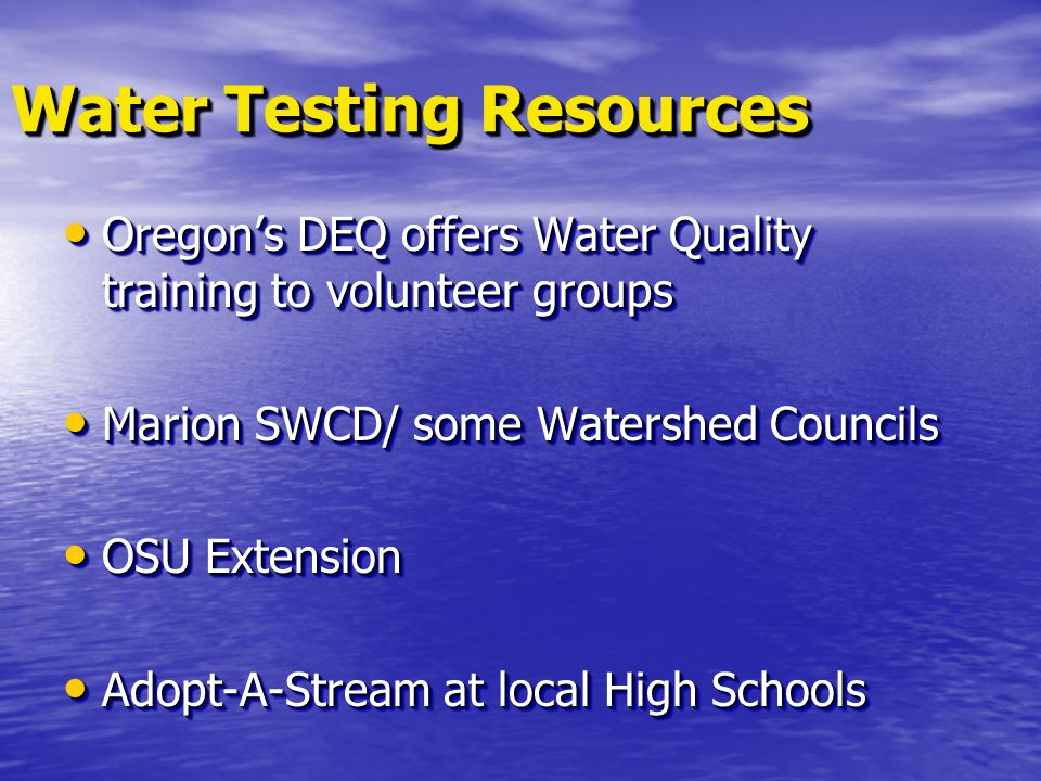 Water Testing Resources