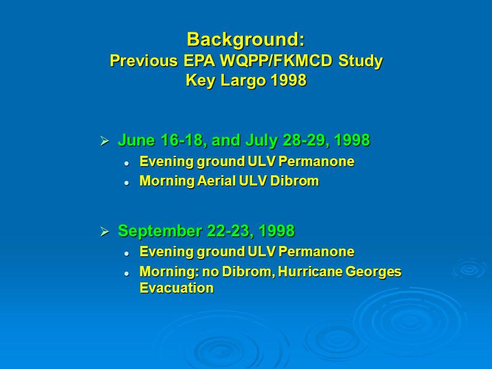 Previous EPA WQPP/FKMCD Study Key Largo 1998