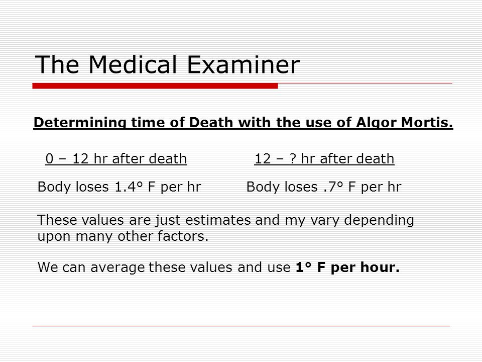 The Medical Examiner Determining time of Death with the use of Algor Mortis. 0 – 12 hr after death.