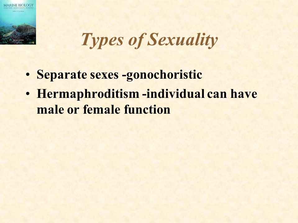 Types of Sexuality Separate sexes -gonochoristic