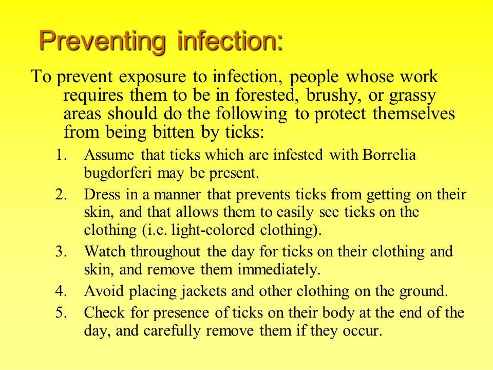 Preventing infection:
