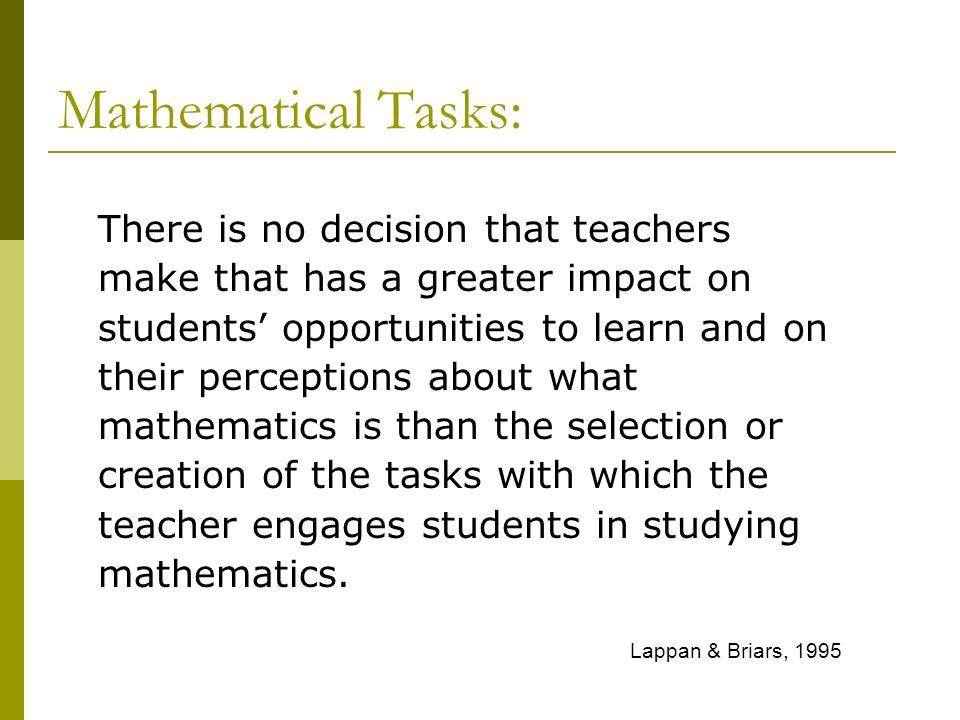 Mathematical Tasks: