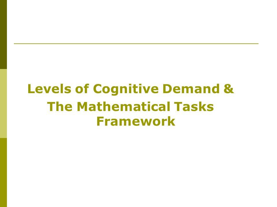 Levels of Cognitive Demand & The Mathematical Tasks Framework