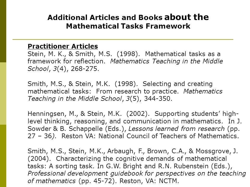Additional Articles and Books about the Mathematical Tasks Framework