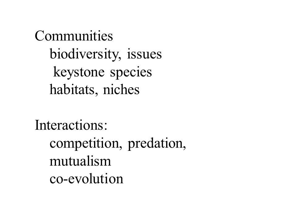 Communities biodiversity, issues. keystone species. habitats, niches. Interactions: competition, predation,