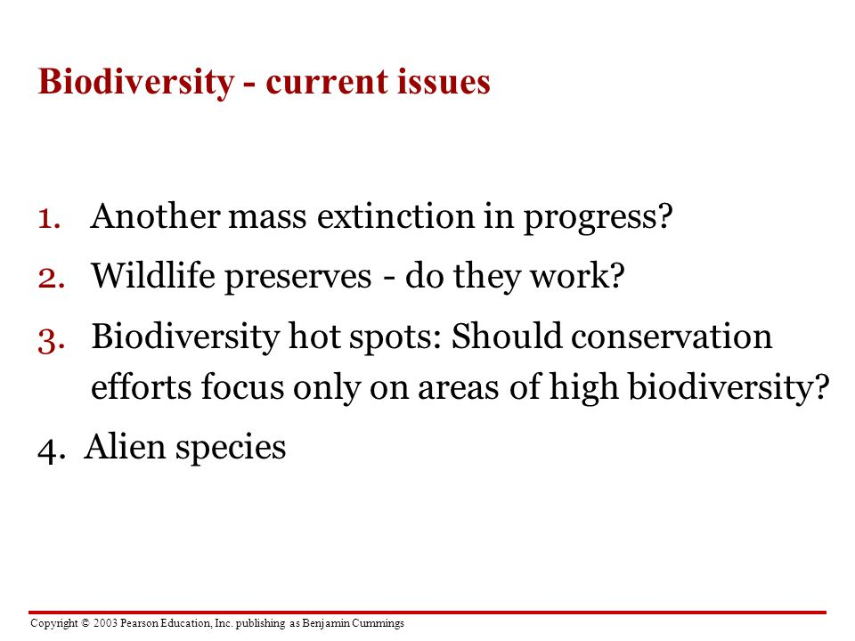 Biodiversity - current issues
