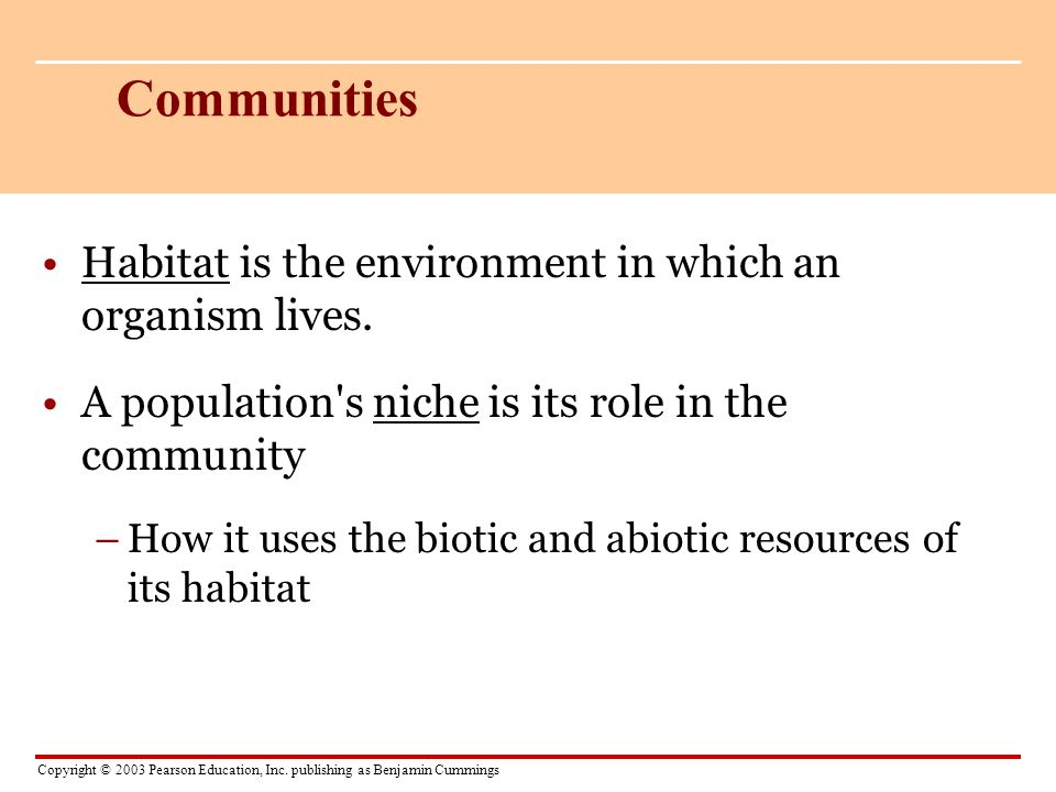 Communities Habitat is the environment in which an organism lives.