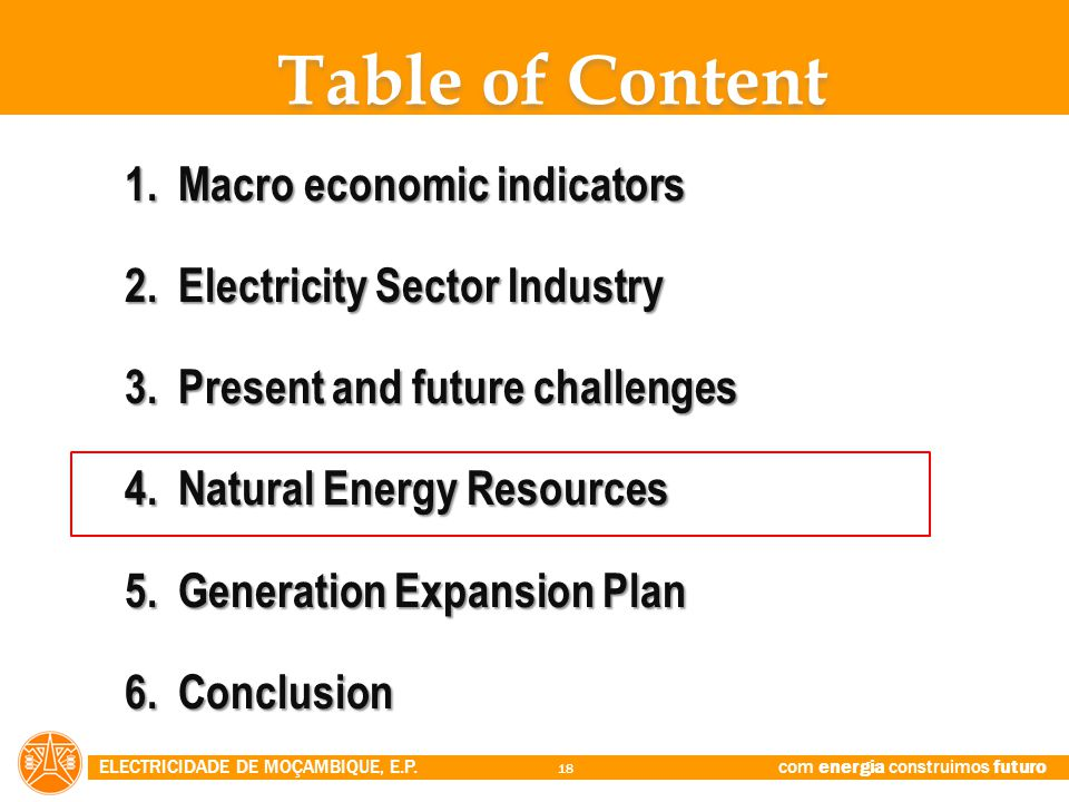 Table of Content Macro economic indicators Electricity Sector Industry
