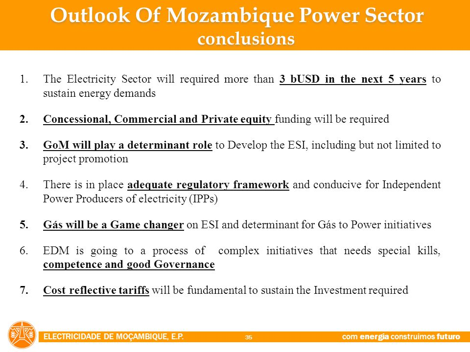 Outlook Of Mozambique Power Sector conclusions