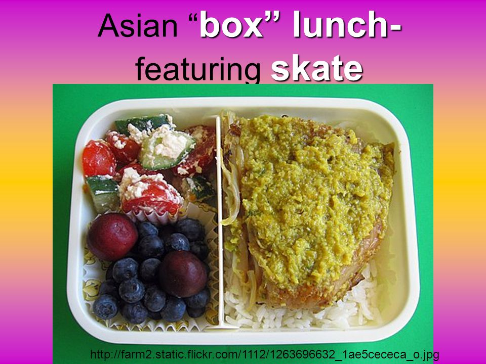 Asian box lunch- featuring skate