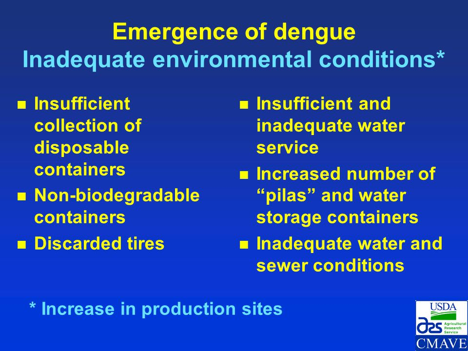 Emergence of dengue Inadequate environmental conditions*