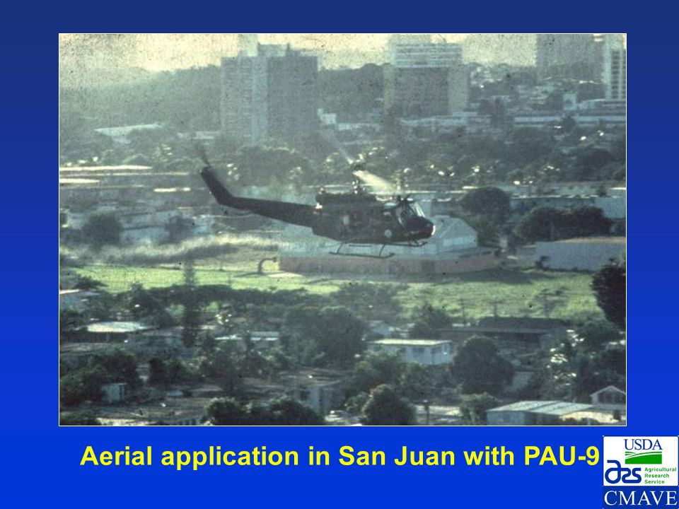 Aerial application in San Juan with PAU-9