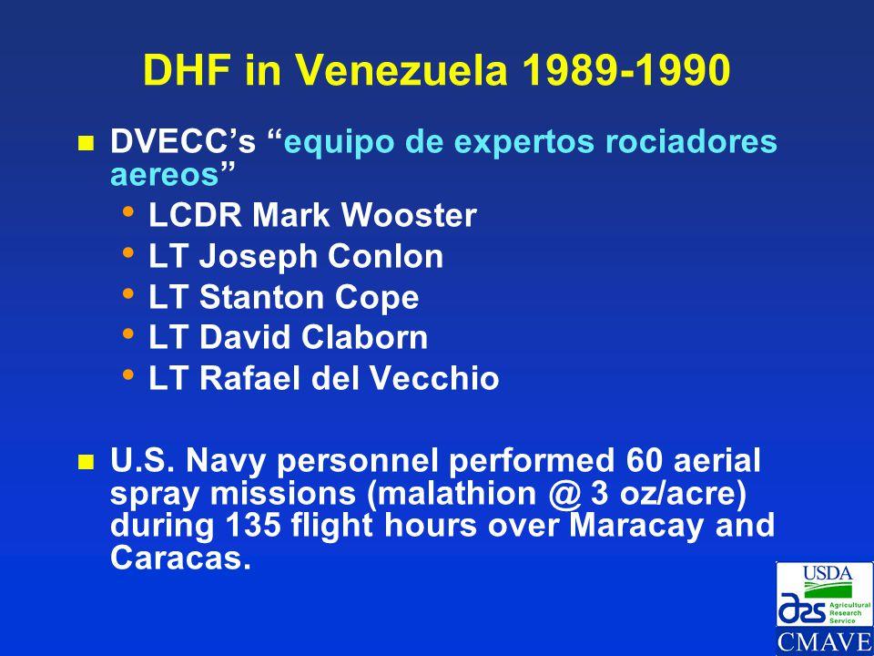 DHF in Venezuela 1989-1990 DVECC's equipo de expertos rociadores aereos LCDR Mark Wooster. LT Joseph Conlon.