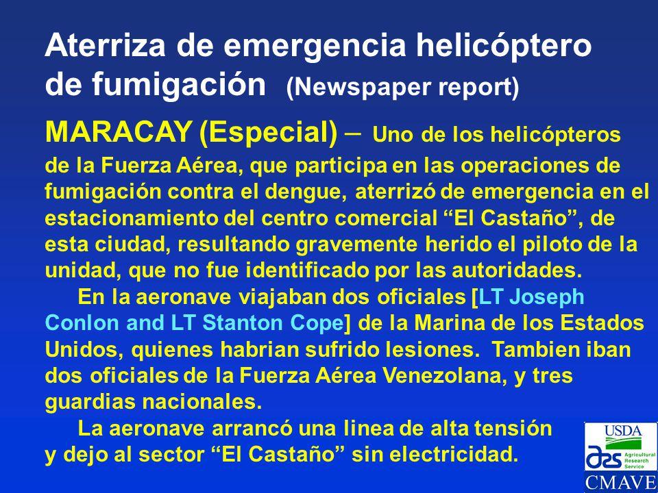 Aterriza de emergencia helicóptero de fumigación (Newspaper report)