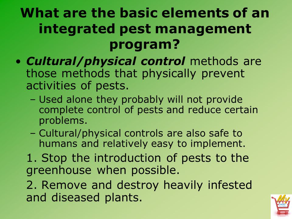 What are the basic elements of an integrated pest management program