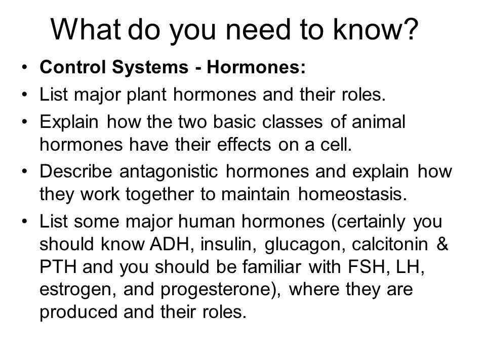 What do you need to know Control Systems - Hormones:
