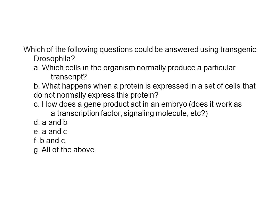 Which of the following questions could be answered using transgenic Drosophila