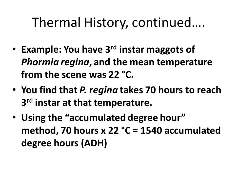 Thermal History, continued….